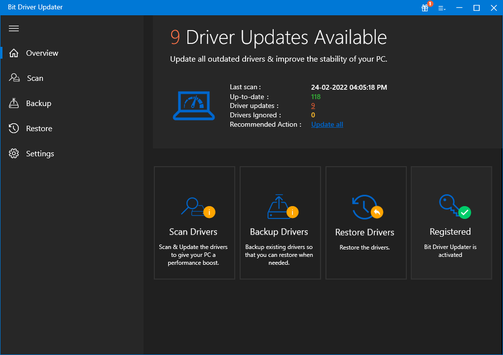Driver Updates Screen